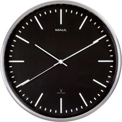 MAUL-wandklok MAULfly, diameter 30 cm, radiogestuurde klok, zwart