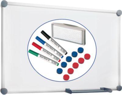 MAUL Whiteboard 2000, weiß beschichtet, magnethaftend, B 900 x H 600 mm + 15-teiliges Zubehör-Set