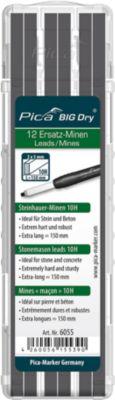 Maurerbleistift Ersatzminen Pica BIG Dry 6055, Graphit 10 H, für Stein & Beton, L 150 mm, mit Etui, 12 Stück