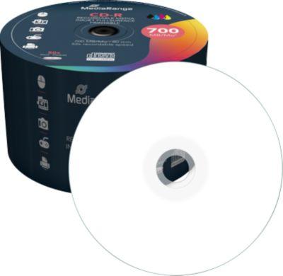 MediaRange CD-R, 700 MB, 52-fache Schreibgeschwindigkeit, vollflächig bedruckbar