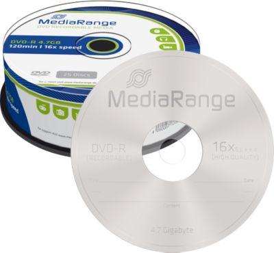 MediaRange DVD-R, 4,7 GB, 16-fache Schreibgeschwindigkeit, 25er Spindel
