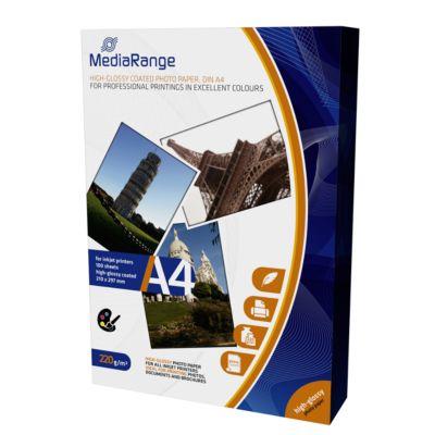 MediaRange Fotopapier A4, für Tintenstrahldrucker, hochglänzend, 100 Blatt a 220 g