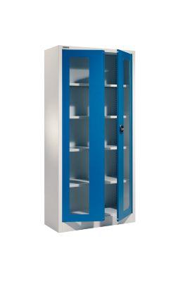 Mehrzweckschrank MSI-ST 2409 mit Sichtfenster, lichtgrau/enzianblau