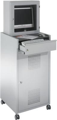 Metalen mobiele PC-gereedschapskast, afsluitbaar, lichtgrijs