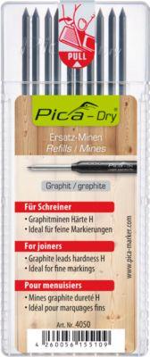 Minen-Set Pica-Dry 4050, f. Schreiner, Graphit, Spezialhärte H, H 125 x Ø 2,8 mm, 10x10 Stück