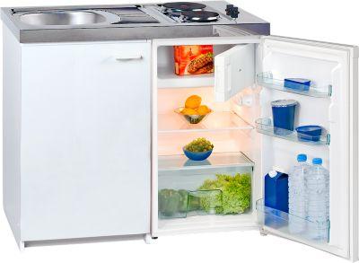 Miniküche KK 1000Z A+, 4* Kühlschrank mit 102 l, Duo-Kochfeld 2 x 1500 W, Spüle, Unterschrank mit Flügeltür, weiß