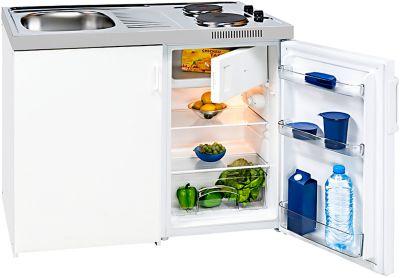 Miniküche KK 1048 A+, 3* Kühlschrank mit 80 l, Duo-Kochfeld 2 x 1500 W, Spüle, Unterschrank mit Flügeltür, weiß