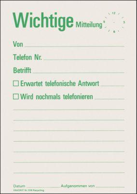 Mitteilungszettel-Block Wichtige Mitteilung, 60 Blatt