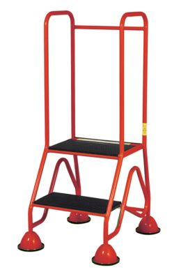 Mobiele platformladder, 2 treden van geribbeld rubberprofiel, rood