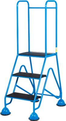 Mobiele platformladder, 3 treden van geribbeld rubberprofiel, blauw