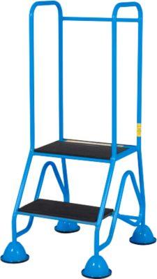 Mobile Plattformleiter, 2 Stufen aus geriffeltem Gummiprofil, blau