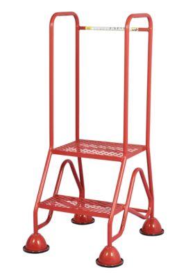 Mobile Plattformleiter, 2 Stufen aus Stahlgitter, rot