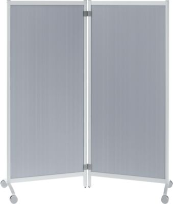 Mobile Trennwand, aluminiumfarben