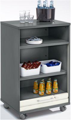 Mobiler Catering-Schrank mit Rolladen, B 650 x T 500 x H 1000 mm, graphit/weiß