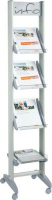Mobiler Prospektständer, 4 Prospektablagen, aus Acryl, 4 x DIN A4, B 330 mm