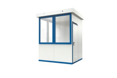 Mobiles Raumsystem WSM, L 2045 x B 2045 mm, für Außenaufstellung, mit Fußboden, grauweiß RAL 9002/enzianblau RAL 5010