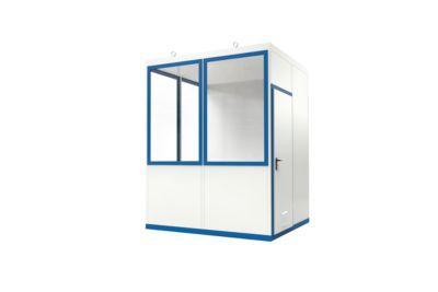 Mobiles Raumsystem WSM, L 2045 x B 2045 mm, für Innen, mit Fußboden, grauweiß RAL 9002/enzianblau RAL 5010