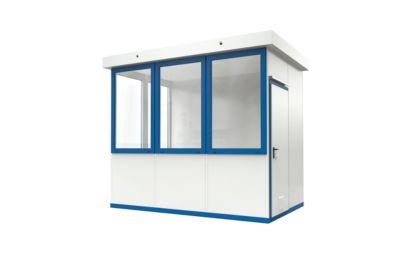 Mobiles Raumsystem WSM, L 3045 x B 2045 mm, für Außenaufstellung, mit Fußboden, grauweiß RAL 9002/enzianblau RAL 5010
