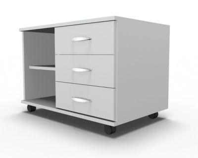 Mobiles Sideboard, Regal + 3 Schübe + Utensilienschub, B 800, anstellbar rechts, lichtgrau