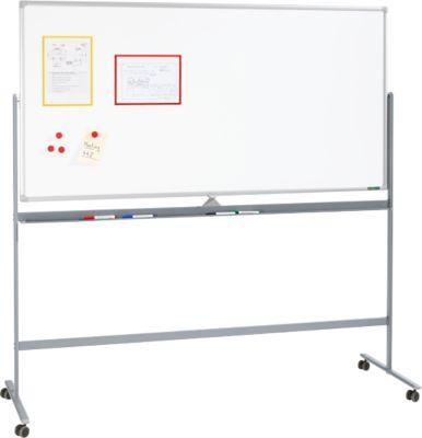 Mobiles Whiteboard 1218, mit drehbarer Tafel, mit 4 Lenkrollen, 1200 x 1800 mm