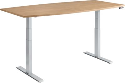 MODENA FLEX vergadertafel, bootvorm, hoogte elektrisch verstelbaar, T-poot, B 2000 x D 800/1000 mm, kersen Romana-decor