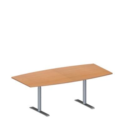 MODENA FLEX vergadertafel, in hoogte verstelbaar, bootvorm, T-poot ronde buis, B 2000 x D 1000/800 mm, beukendecor
