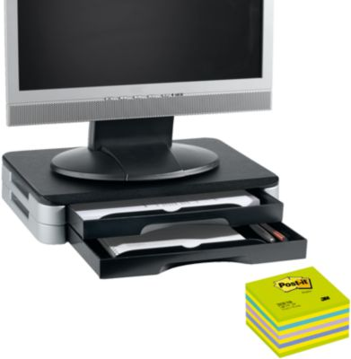 Monitor-/Printer-Stand + Post it Würfel neongrün 76x76 mm, GRATIS