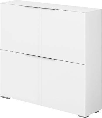 Mooi highboard, 4 deuren met 1 plank, multifunctioneel blad, B 1118 x H 1136 mm, wit matglas, 4 deuren met 1 plank, multifunctioneel blad, B 1118 x H 1136 mm, mat wit glas.