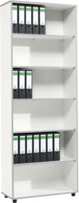 Moxxo IQ boekenkast, hout, 6 vakken, 6 OH, B 801 x D 362 x H 2168 mm, wit