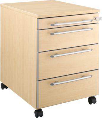 Moxxo IQ verrijdbare ladeblok 1233, ronde grepen, 1 materiaallade, 3 laden, B 432 X D 580 X H 595 mm, hout, afsluitbaar, ahorndecor
