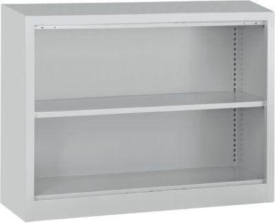 MS iCONOMY stalen open kast, 2 OH, B 1200 x D 400 x H 865 mm, blank aluminiumkleurig RAL 9006