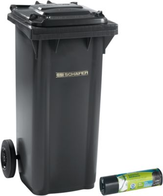 Mülltonne GMT, 120 l, fahrbar, anthrazit + Schwerlast-Abfallsäcke