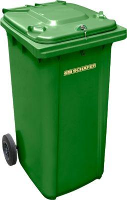 Mülltonne GMT, 240 l, Schwerkraftschloss, grün