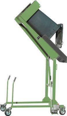 Mülltonnen-Kippstation MKS, für 120 & 240 l Tonnen, Ausschütth. 1480 mm, Kippw. 135°, bis 110 kg, Rollen, Handpumpe, RAL 6011