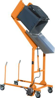 Mülltonnen-Kippstation MKS, für 120 & 240 l Tonnen, Ausschütthöhe 1480 mm, Kippw. 135°, bis 110 kg, Rollen, Fußpumpe, RAL 2000