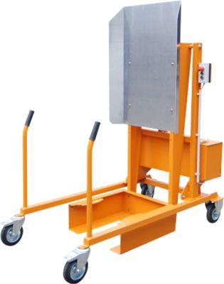 Mülltonnen-Kippstation MKS, für 120 & 240 l Tonnen, Ausschütthöhe 1480 mm, Kippwinkel 135°, bis 110 kg, Rollen, 12 V, RAL 2000
