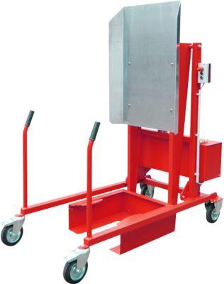 Mülltonnen-Kippstation MKS, für 120 & 240 l Tonnen, Ausschütthöhe 1480 mm, Kippwinkel 135°, bis 110 kg, Rollen, 12 V, RAL 3000