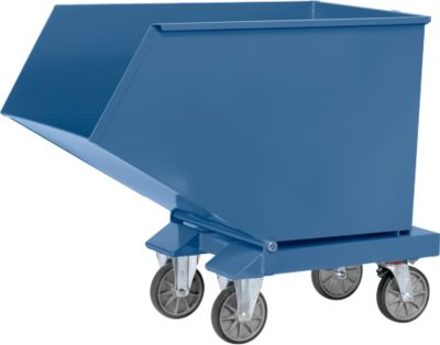 Muldenkipper 4704, 800 l, blau RAL 5007, mit Ablasshahn und Sieb