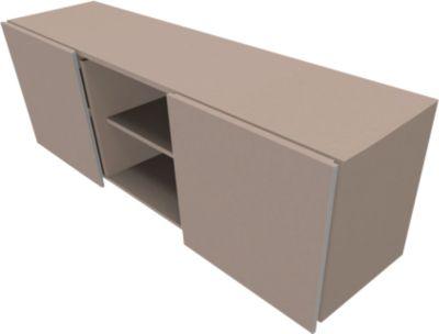 Multikastje SOLUS PLAY, 2 schuifdeuren, 2 open vakken, greeploos, b 1350 x d 523 x h 583 mm, Stone grey