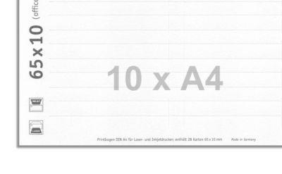 Namensschild-Etiketten, 280 Etiketten gesamt, Größe 65 x 10 mm, 10 Bögen