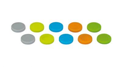 Neodym-Magnete Maul, Ø 18 x 4 mm, Silikon-Ummantelung, bis 0,8 kg, farbig, 10 Stück