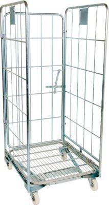 Nestbarer Rollbehälter, 3-seitig, Traglast 500 kg