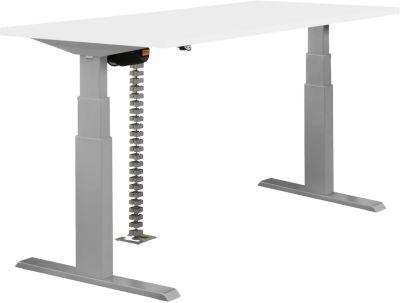 NEVADA Bureautafel ,elektrisch in hoogte verstelbaar, breedte 1600 mm, tweetraps H 640 - 1300 mm, wit blad en alu onderstel