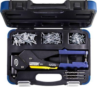 Nietzange Rapid RP60 Multi™, 360°-Kopf, für Nieten mit 3,2/4,0/4,8 mm, inkl. Messwerkzeug, 3 Bohrer, 150 Nieten