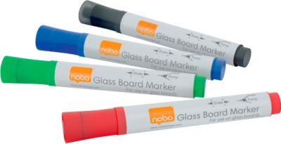 nobo Glas-Whiteboard Marker, 4er Set sortiert