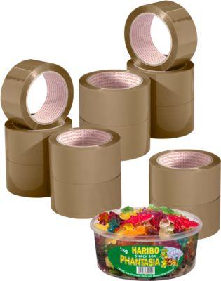 NOPI® Verpakkingsplakband 4042, PP, bruin, 12 rollen + 1 doos Haribo snoepen GRATIS