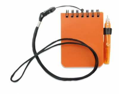 Notizblock, mit Umhängeband und Kugelschreiber, spiralgebunden, 60 x 60 mm, orange