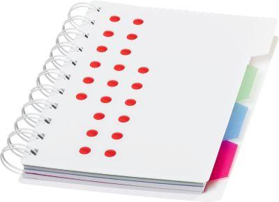 Notizbuch Bucef, 116 Seiten, spiralgebunden, farbliche Register und Kunststoffhülle, rot