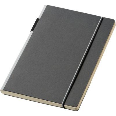 Notizbuch Cuppia, A5, 80 Seiten liniert, Stiftschlaufe, Werbedruck 80 x 165 mm, Karton, schwarz/grau