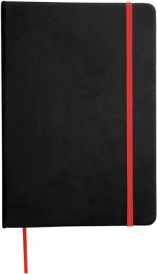 Notizbuch Lector, DIN A5, blanko, 70g/m², 80 S., schwarz/rot
